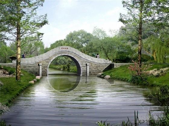 单跨10m人行景观拱桥设计图