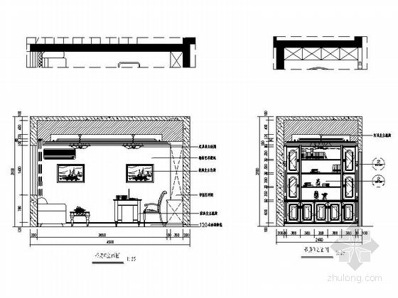 [深圳]195平经典豪华欧式五居室样板间装修设计施工图书房立面图