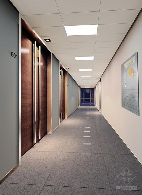 [深圳]高端商务核心区现代科技大厦室内装修图(含效果)走廊效果图