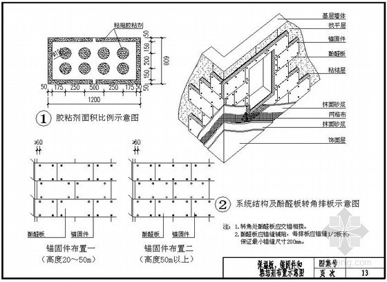 酚醛板外墙外保温系统保温板、锚固件布置图
