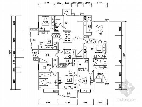 某住宅区一梯三户端头户型平面图