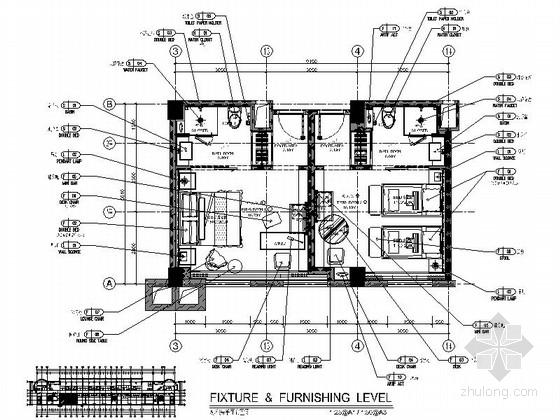 [福建]四星级温泉酒店标准房室内装修施工图(含效果)