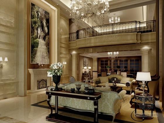 欧式豪华别墅客厅3d模型下载