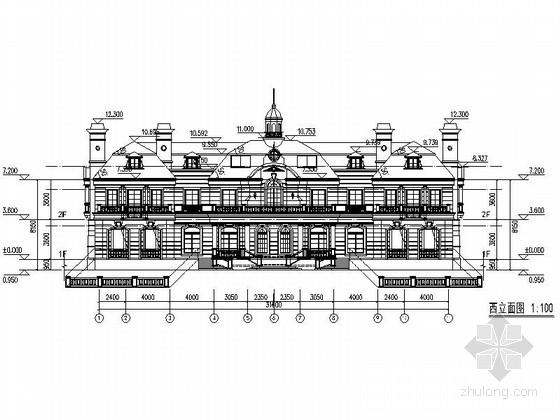 [上海]欧式风格2层会所别墅建筑设计施工图-欧式风格2层会所别墅立面图