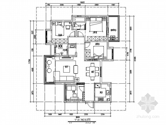 [武汉]湖畔小区简欧四居室样板间装修施工图(含效果)