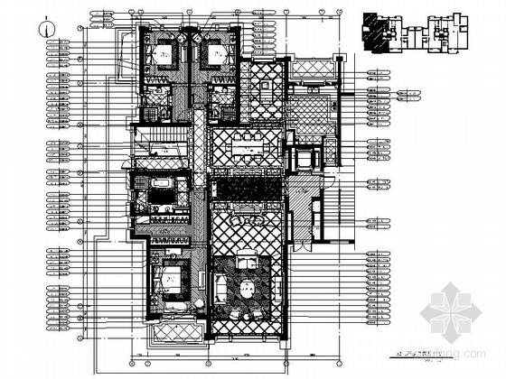 [上海]精品高档简欧风格三居室样板间室内装修施工图(含效果)