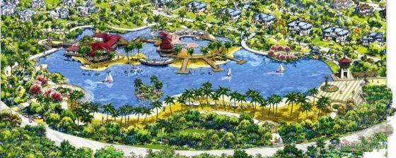 滨水休闲小区手绘景观意向图