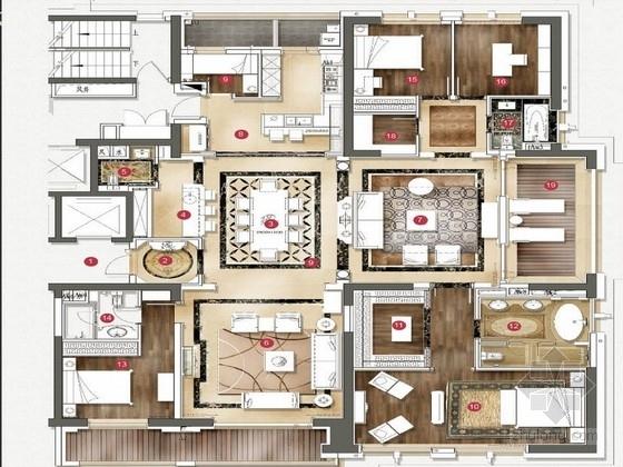 [上海]时尚简欧4居室室内全套概念文本效果图