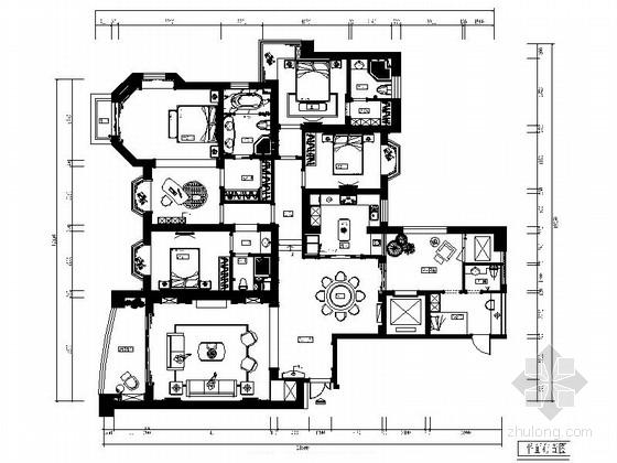 精品名城豪宅简欧风格五居室样板间CAD装修施工图(含效果)