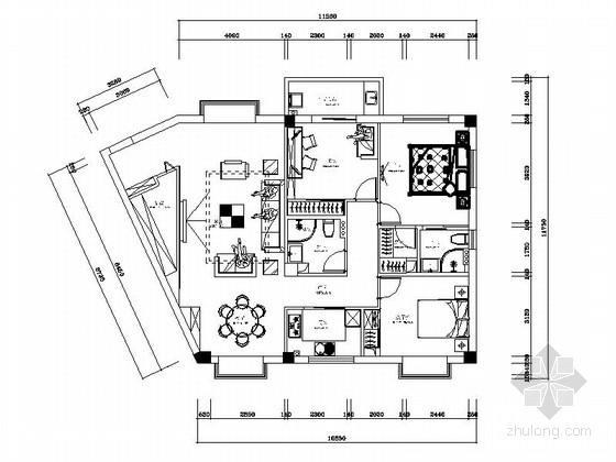 [安阳]风景秀丽小高层现代三居室装修施工图