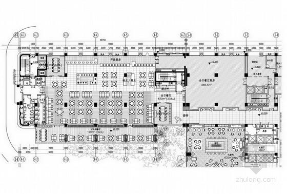 [湖南]别具一格奢华高档五星级商务酒店设计方案全日餐厅平面图