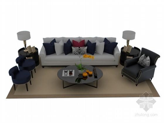 现代欧式沙发3D模型下载