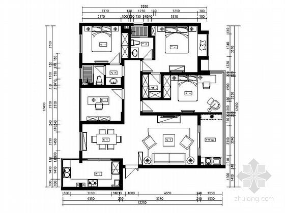 精品现代简约时尚风格四居室室内装修施工图(含效果图)