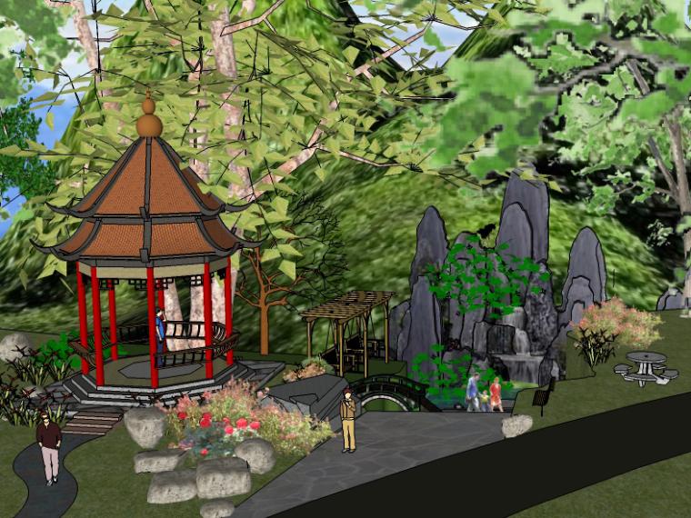 现代亭su模型资料下载-精美庭院花园景观设计SU模型(20套)