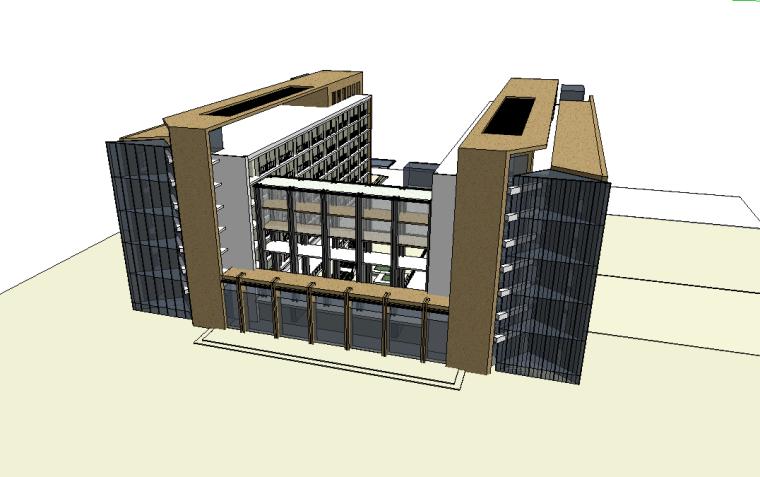 云南学院公建现代学校SU建筑模型