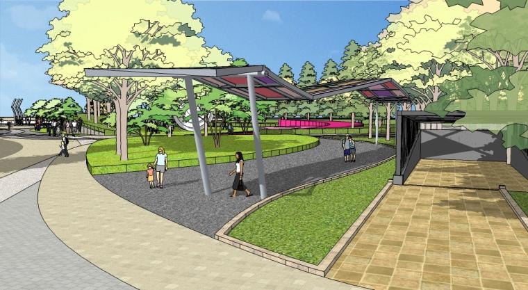 概念公园景观设计SU模型