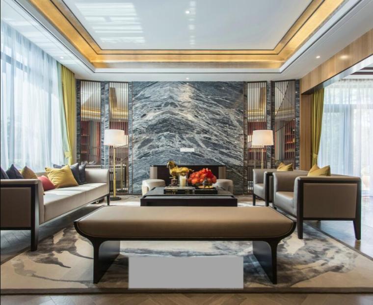 [佛山]知名设计新中式与现代简约别墅样板房设计施工图(含实景图_9