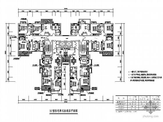 54套一梯六塔式住宅户型平面图