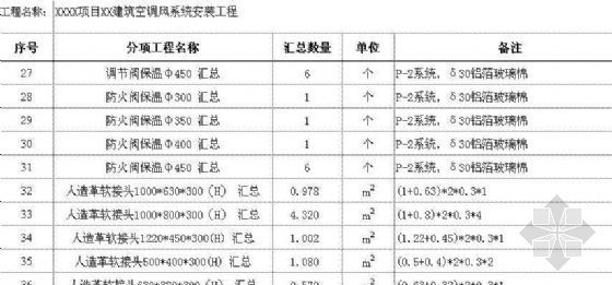 空调风系统预结算工程量计算书(EXCEL)