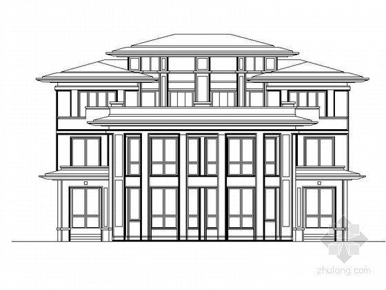 [江苏]某国际花园三层欧式豪华双拼别墅建筑扩初图