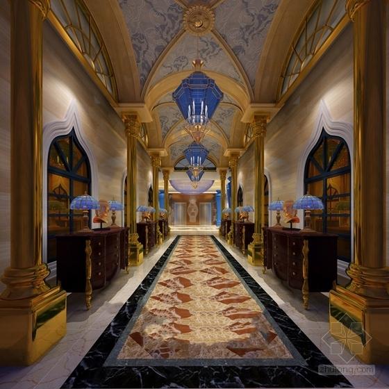 [浙江]高档商务欧式风格娱乐会所室内装修施工图(含效果)大堂走廊效果图