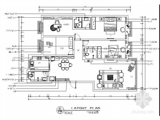 精品简欧风格四居室样板间室内装修施工图(含效果)