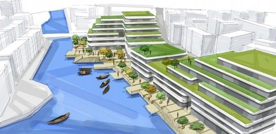 滨水现代风格退台式商业综合体效果图