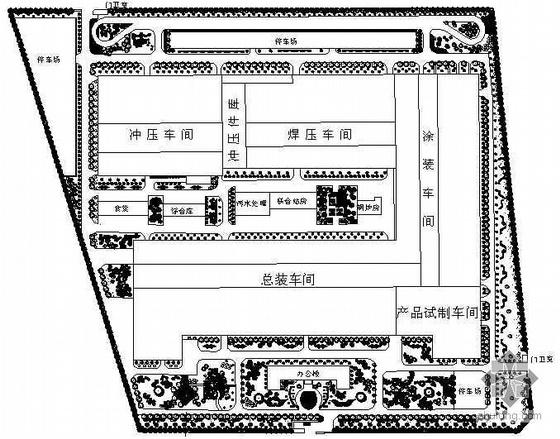 Isuzu汽车博物馆景观资料下载-某汽车城环境景观设计平面