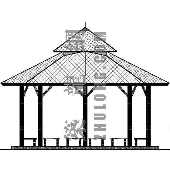 八边形观景亭施工图