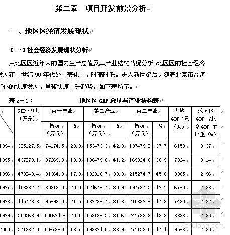 北京市某小区土地一级开发项目建议书(代可行性研究报告)