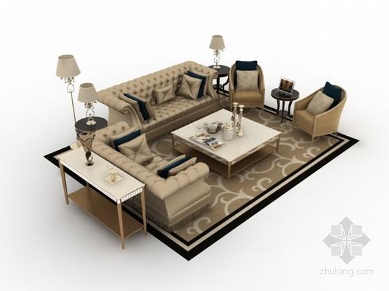 奢华欧式沙发茶几组合3d模型下载