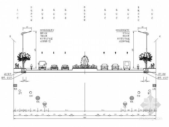 双向六车道城市道路交通工程设计施工图(58张 附照明设计)