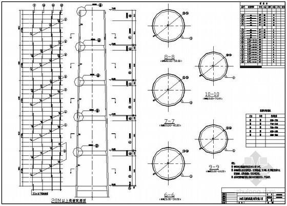 某70米上口直径5.5米钢筋混凝土烟囱结构施工图