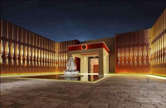 [拉萨]高山雪域首家豪华奢华酒店设计方案图庭院效果图