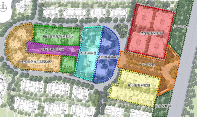 [海南]三亚高端温泉度假公寓景观设计方案(东南亚风格)-高端温泉度假公寓景观设计——功能分区图
