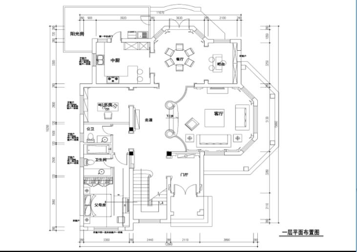 300平独栋欧式风格别墅室内设计施工图_1