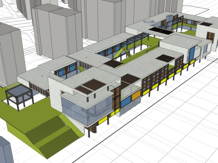 规划住宅现代高层平面立面总图skp+商业商业街平面立面总图-12b0ea016025fa832e811b95a67bced7