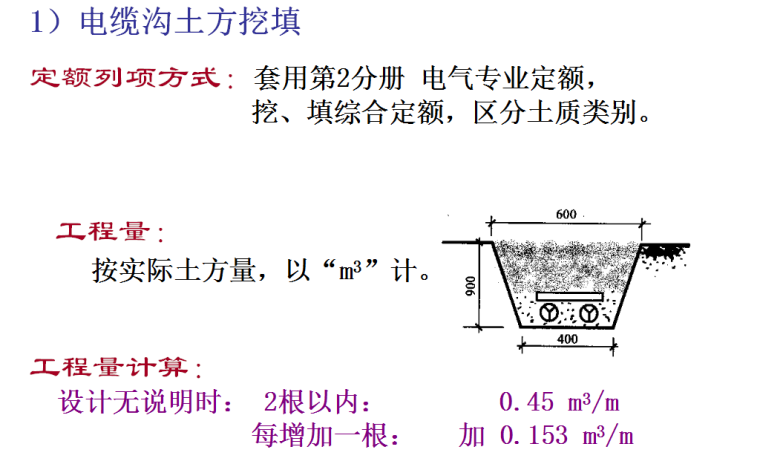 建筑电气工程量计算方法-电缆沟土方挖填