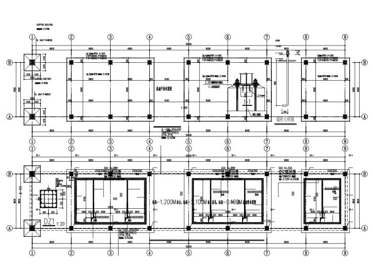 一层门式钢架立体停车场建筑结构施工图2018