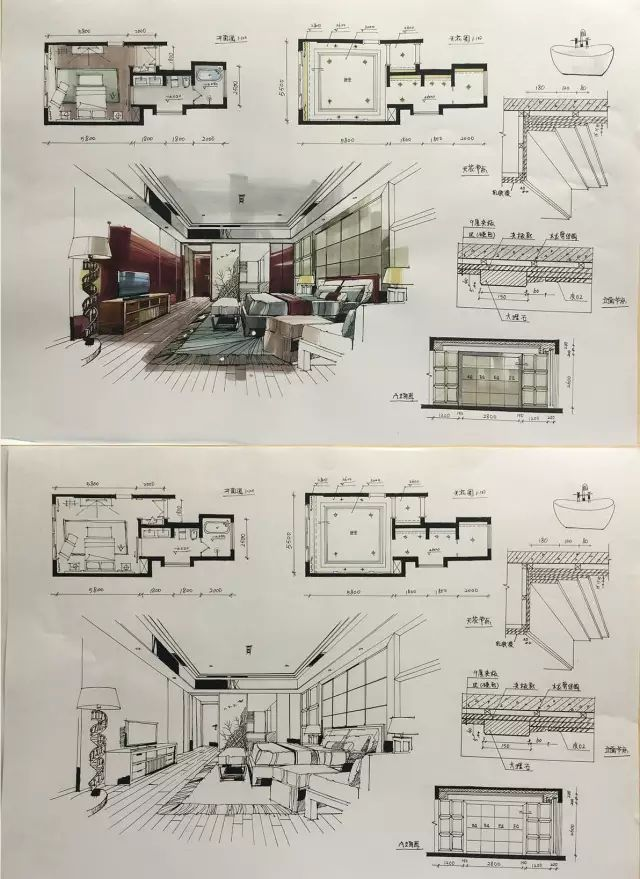 室内手绘 室内设计手绘马克笔上色快题分析图解_47