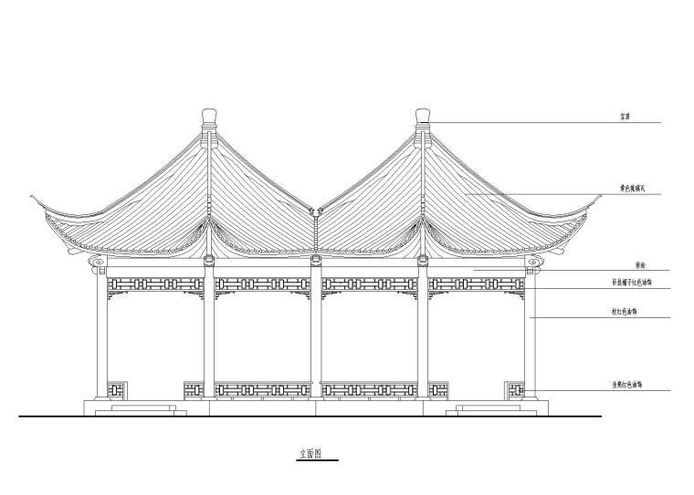 木结构六角连亭施工图,宋式做法