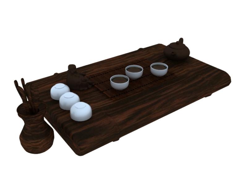 中式茶台3D模型下载