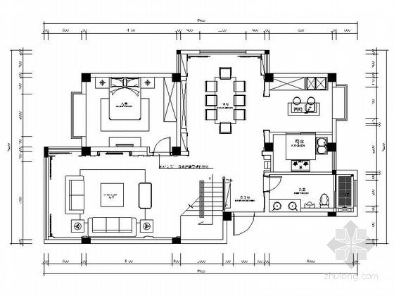 [扬州]化繁为简新古典三层联体别墅样板间CAD装修施工图(含高清实景图)