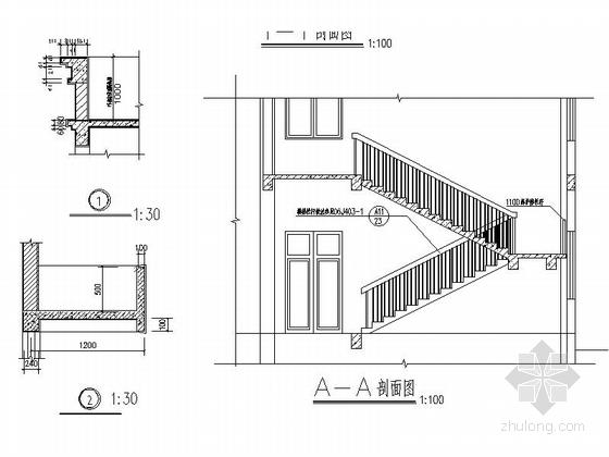 两层简洁高级中学食堂详图