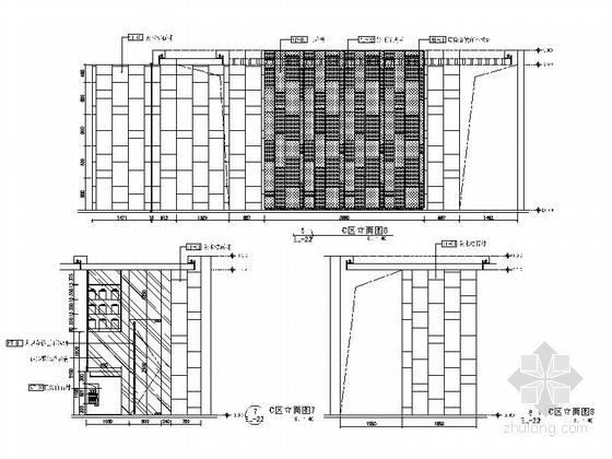 [深圳]环境优雅现代火锅店室内装修图(含效果图) 立面图