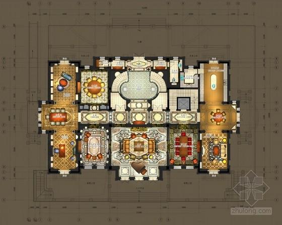 [上海]高档奢华意大利文艺复兴风格商务会所室内设计方案