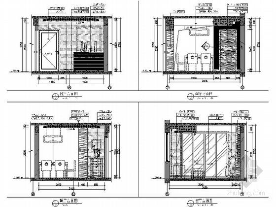 [武汉]花园洋房时尚两居室样板间装修施工图(含效果实景及手绘图)客厅餐厅立面图