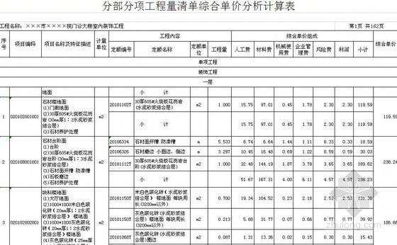 [福建]2012年某八层框架门诊楼室内安装装饰项目工程量清单预算(定额+综合单价)