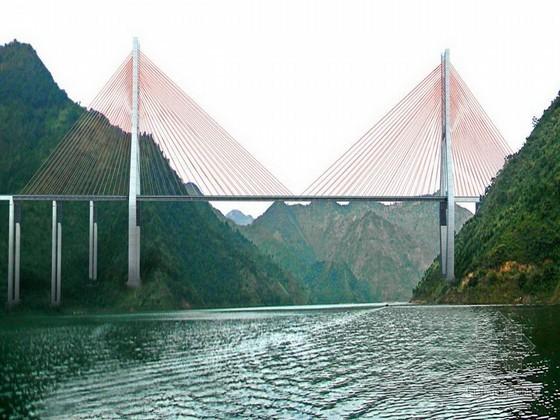 [贵州]漂浮双塔双索面半混合式叠合梁斜拉桥施工组织设计(2013年)