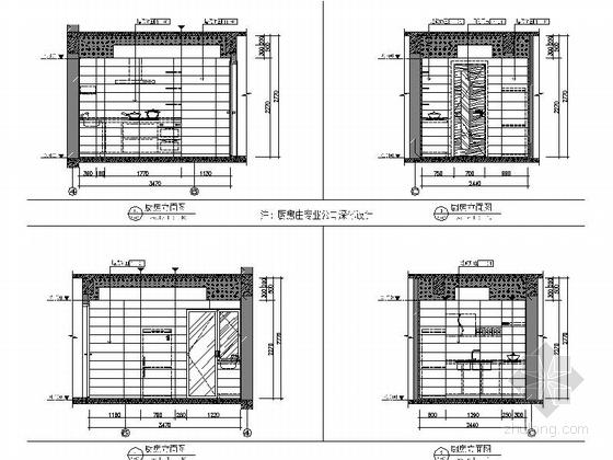 [武汉]花园洋房时尚两居室样板间装修施工图(含效果实景及手绘图)厨房立面图